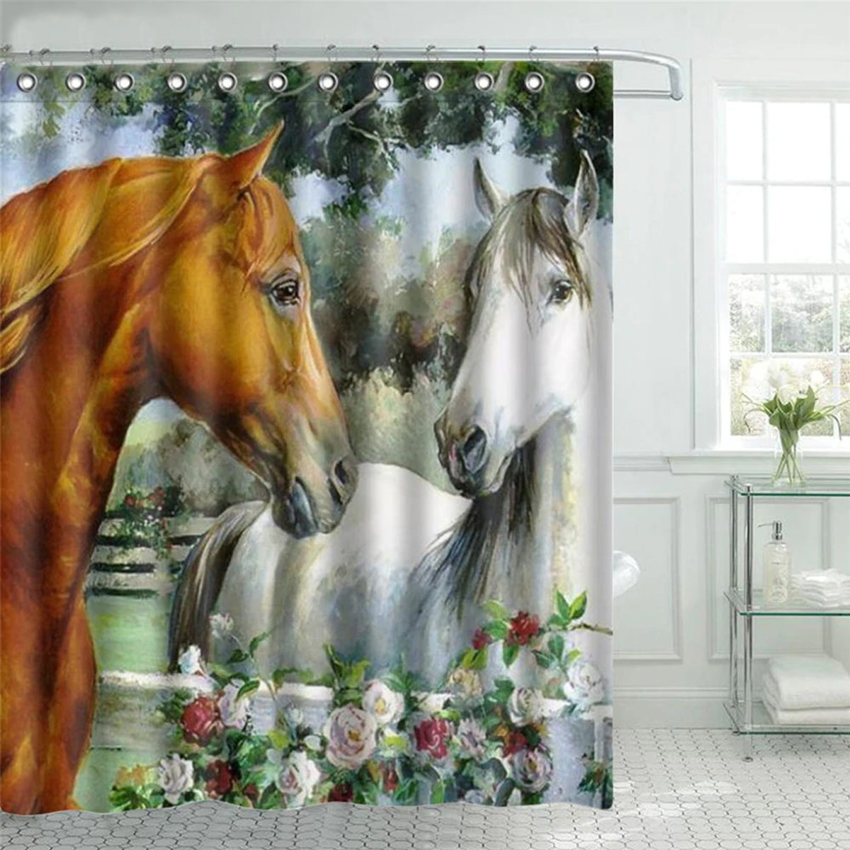 Horse Design Polyester Fabric Shower Curtain