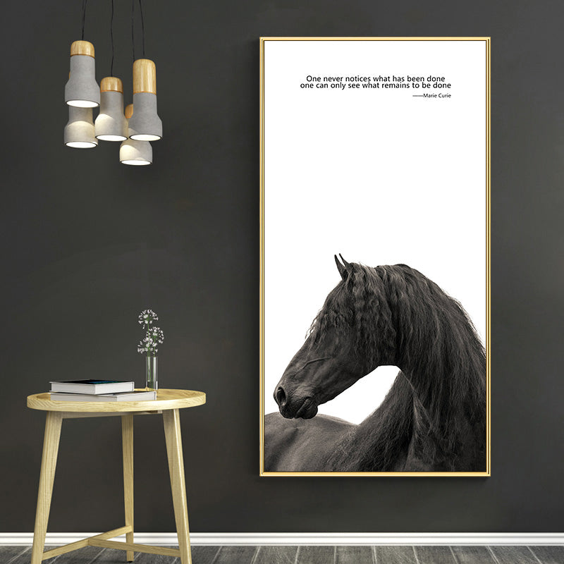 Black n White Horses With Quote Canvas Painting