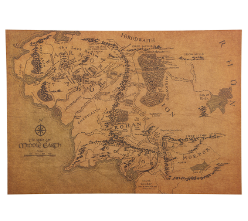 lord of the rings map of middle earth hobbit lotr map wall poster