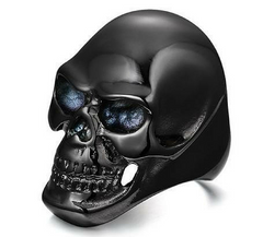 ebca5bb48f5e34 Stainless Steel Black Skull Ring-Clearance Sale