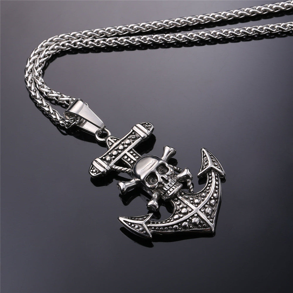 Punk Pirate Anchor With Skull Necklace Pluto99