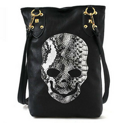 a2029b074ad465 Black Skull Face PU Leather Tote Handbag - Clearance Sale
