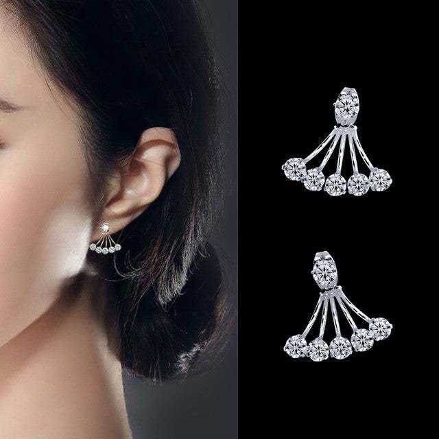 f99d78481 Big Crystal Silver Clip Stud Earrings - Pluto99