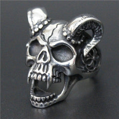 b0ba3bd4282139 Stainless Steel Skull Vampire Goat Ring - Clearance Sale