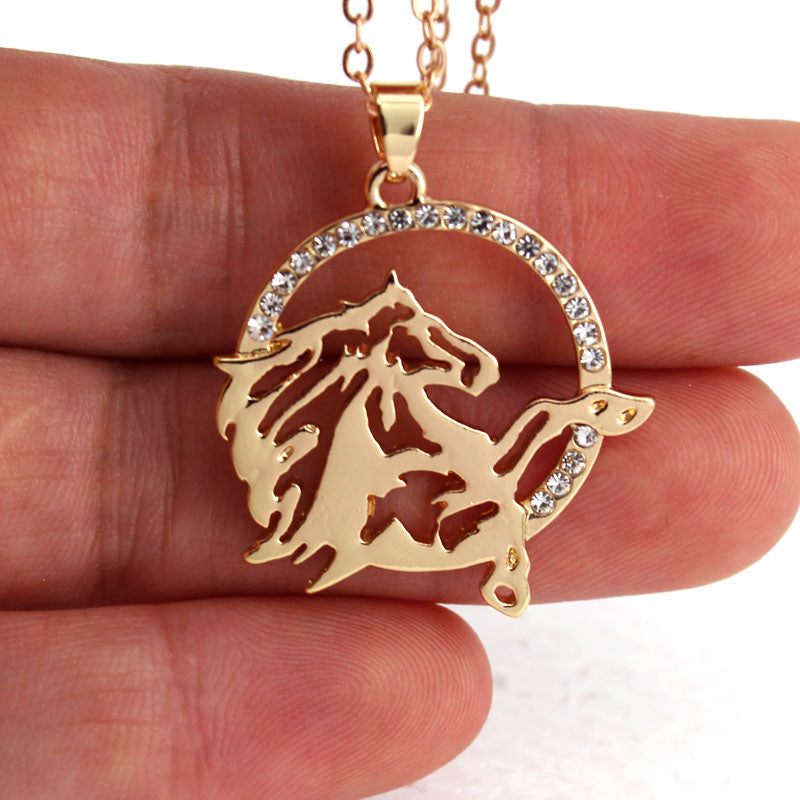 Round Shape and Running Horse Necklace