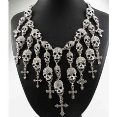 e8728f6d48eba7 Necklaces - Crystal Skeleton Skull Cross Jewelry Necklace
