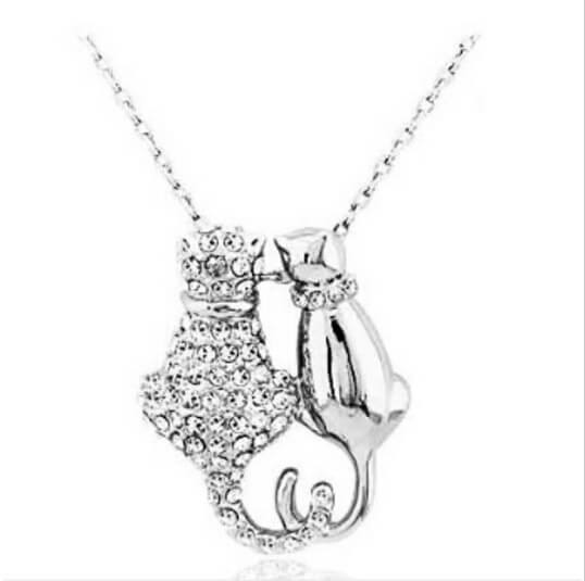 Cute cat couple pendant necklace pluto99 necklaces cute cat couple pendant necklace mozeypictures Image collections