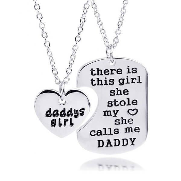 Daddy daughter dog tag heart pendant necklace pluto99 necklaces daddy daughter dog tag heart pendant necklace aloadofball Images
