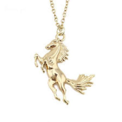 Gold silver tone running horse pendant necklace pluto99 necklaces gold silver tone running horse pendant necklace mozeypictures Gallery
