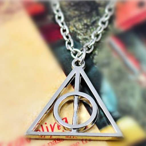 Harry Potter Deathly Hallows Metal Silver Necklace Pluto99