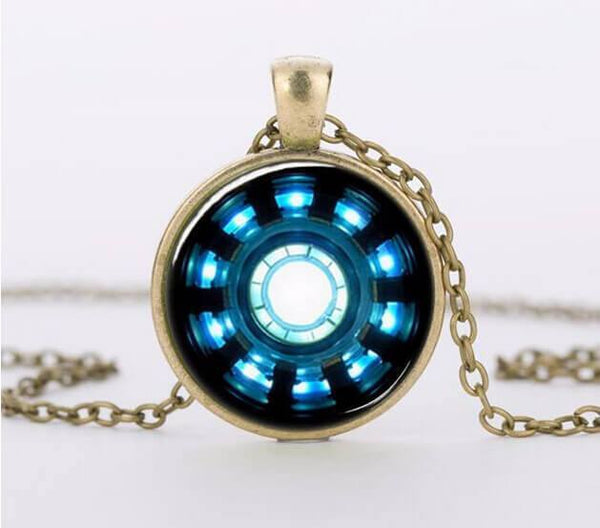 Iron Man Arc Reactor Pendant Glass Necklace Pluto99