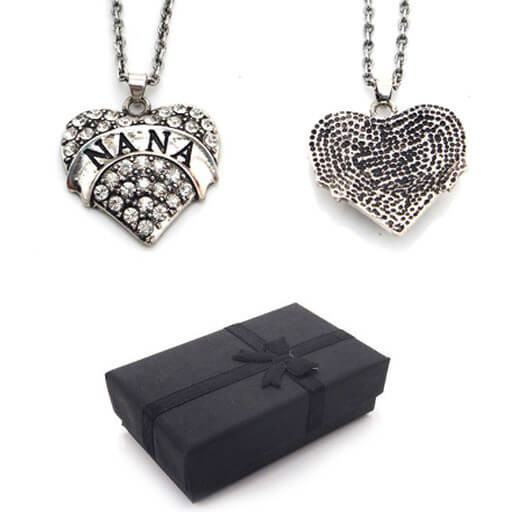 Retro Nana Silver Heart Pendant Necklace Rhinestone