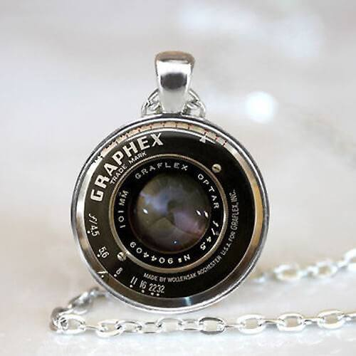 Silver vintage camera lens pendant necklace pluto99 necklaces silver vintage camera lens pendant necklace mozeypictures Image collections