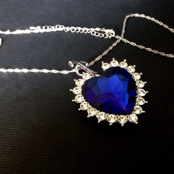Titanic Heart Of The Ocean Sapphire Crystal Chain Necklace