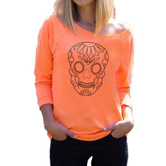 9222ceb01c3169 Skull Printed Casual Sexy Long Sleeve-Clearance Sale