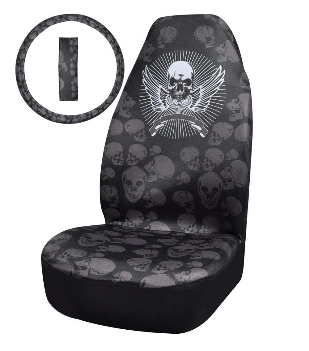 Black skull chair - Skull Universal Fit Car Seat Cover Set