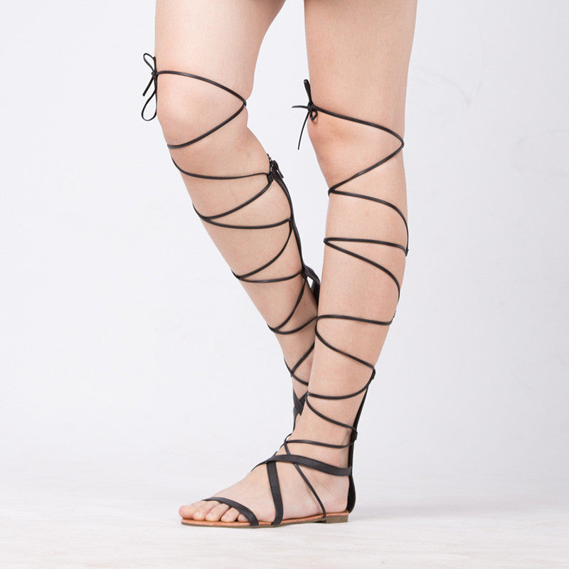 5402746878b Lace Up Sexy Knee High Gladiator Flats - Pluto99