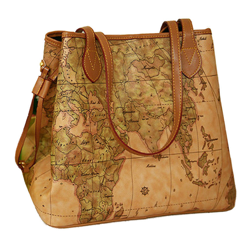 a1cc8e6f73 Vintage Map Pattern Leather Handbag - Clearance Sale - Pluto99