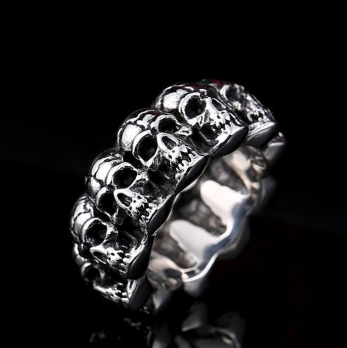 Stainless steel men punk skull ring pluto99 for Rebel designs jewelry sale
