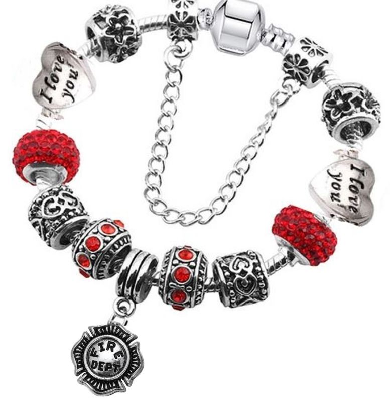 a6477aeb2d3c8 Red Heart Love Firefighter Charm Bracelet