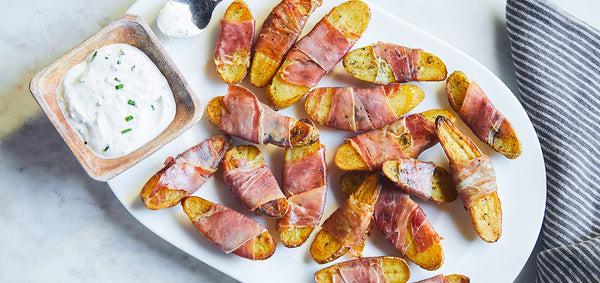 Crispy Prosciutto Wrapped Fingerling Potatoes