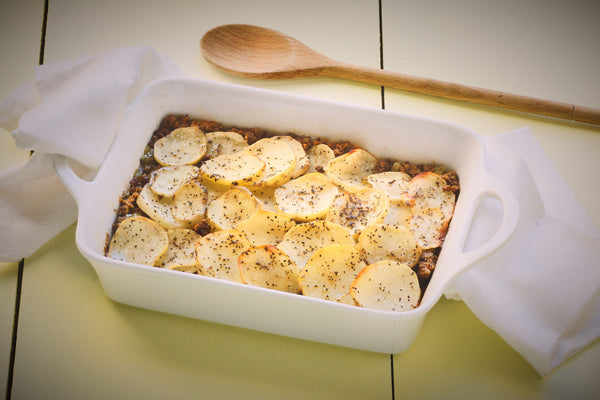 Serbian Ground Beef, Veggie & Potato Bake