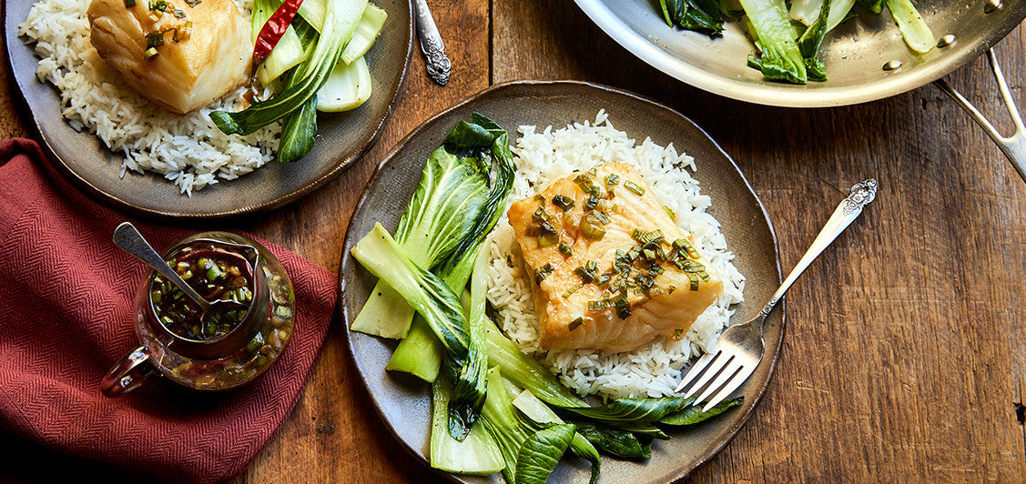 Chilean Sea Bass Poached in Spicy Soy Sauce