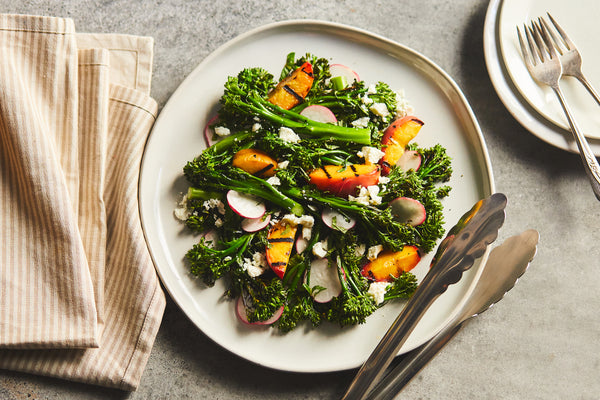 Grilled Broccolini and Peaches