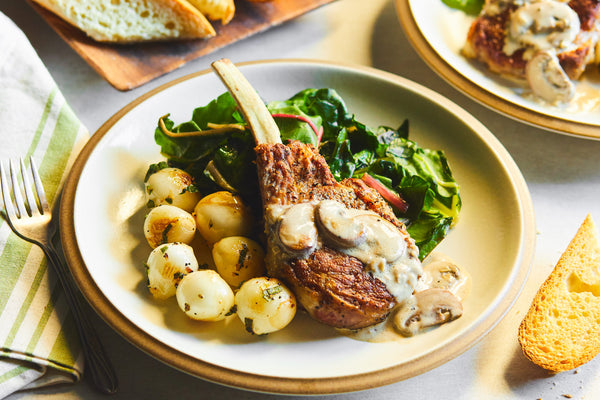 Veal Chop with Mushroom Cream Sauce