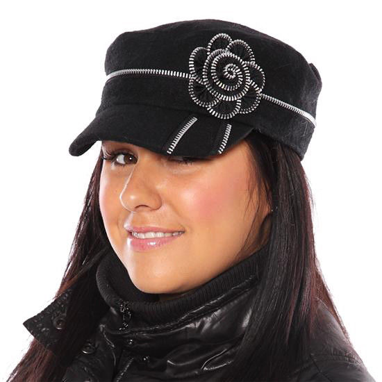 Ladies Black Cadet Cap Hat With Zip Flower And Detailing NEW Fits up to 58cm 398844279e22