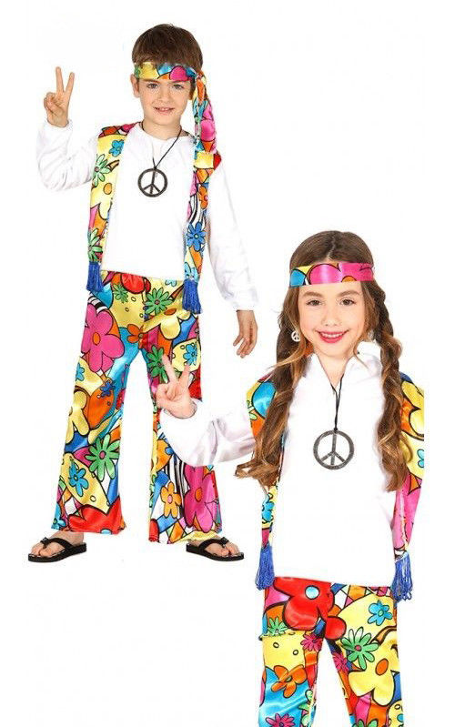Kids Hippy Costume Boys Girls Hippie Fancy Dress 60s Outfit Book Week Age 4 12