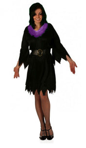 ladies hooded witch costume fur fancy dress halloween outfit size 10 16 new