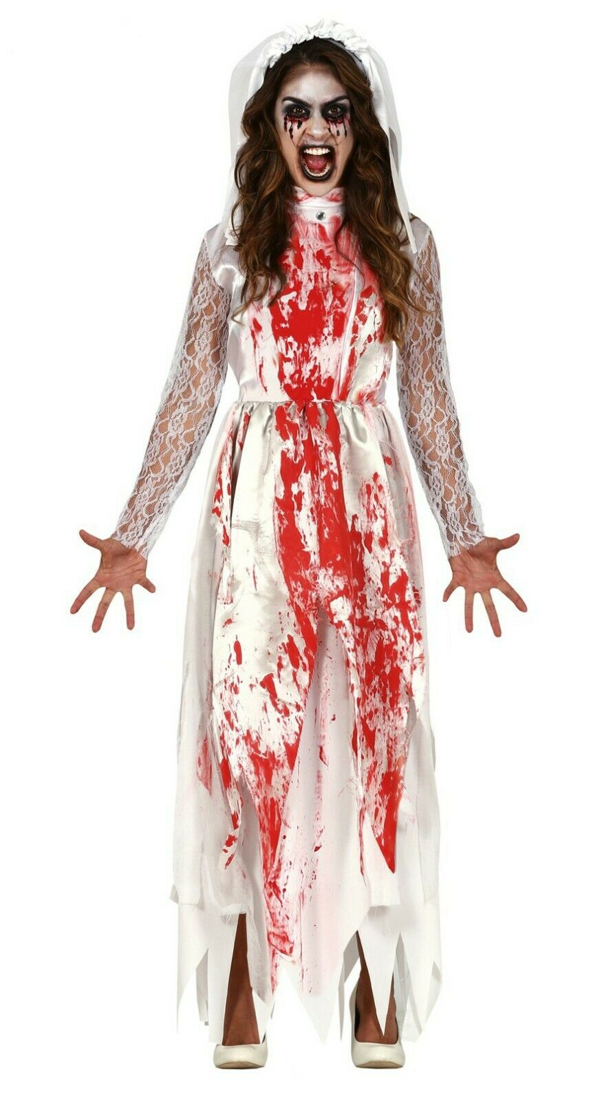 Halloween Ladies Zombie Bloody Bride Adult Fancy Dress Costume Women Outfits