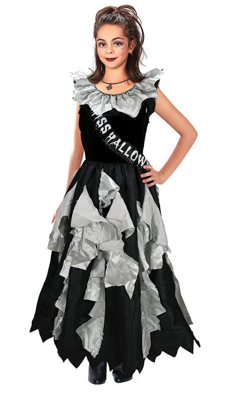 NEW Girls Goth Prom Queen Halloween Costume FANCY DRESS OUTFIT AGE 8-10 YEARS