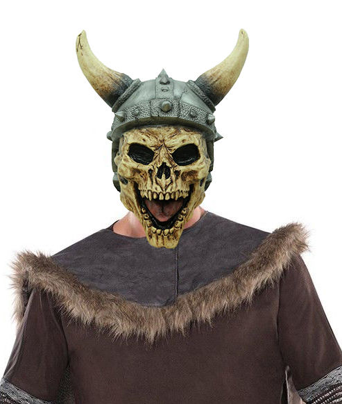 Mens Viking Costume Mask Full Overhead Latex Skull Helmet