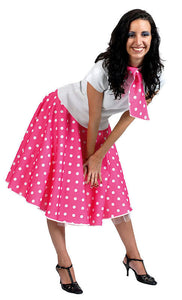 279de51169e7 LADIES POLKA DOT PINK 50'S ROCK N ROLL CIRCLE SKIRT & SCARF COSTUME NEW 10-