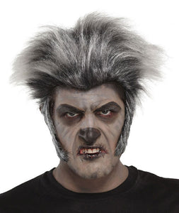 mens werewolf wig grey wolf wolfman silly fancy dress costume halloween new