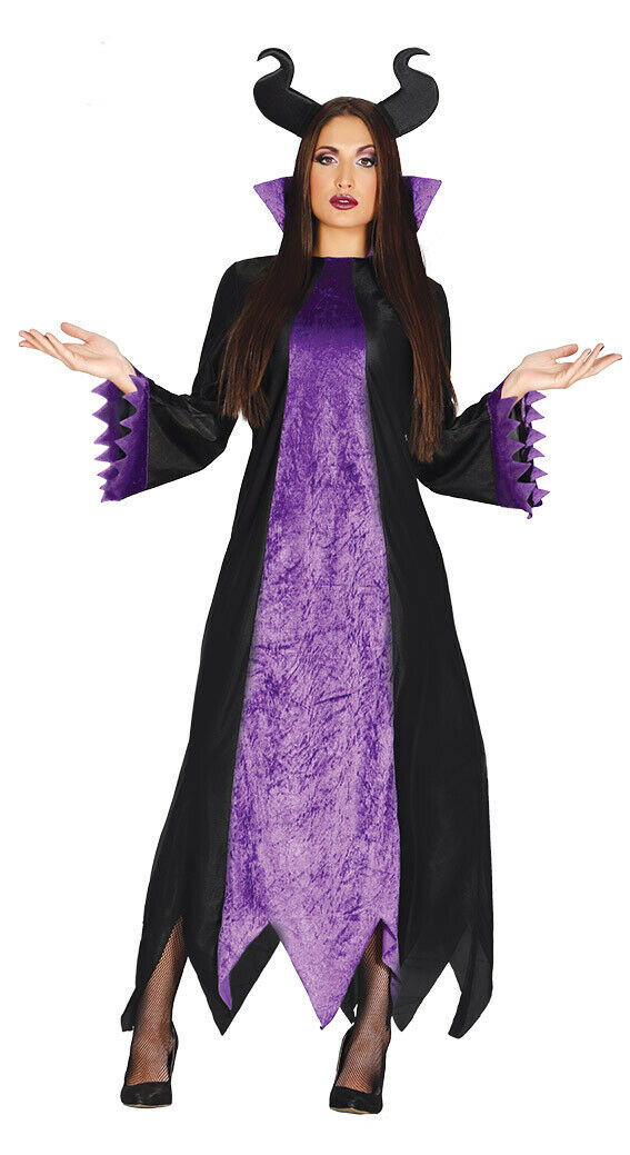 Ladies Maleficent Costume Womens Fancy Dress Halloween Evil Fairy Outfit Horns