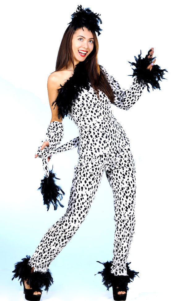 ladies spotty cruella deville costume very silly fancy dress halloween outfit
