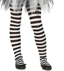 b536a8fba7cbd Kids Girls Black & White Striped Halloween Witch Fancy Dress Costume Tights  NEW