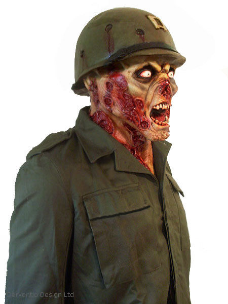 MENS SCARY ZOMBIE FACE MASK CUT STAPLED FACE DELUXE LATEX HORROR HALLOWEEN NEW