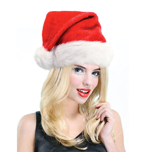ee36a1f799 LADIES SPARKLY SANTA HAT RED CHRISTMAS XMAS RUN MRS SANTA HAT WHITE FUR TRIM  NEW