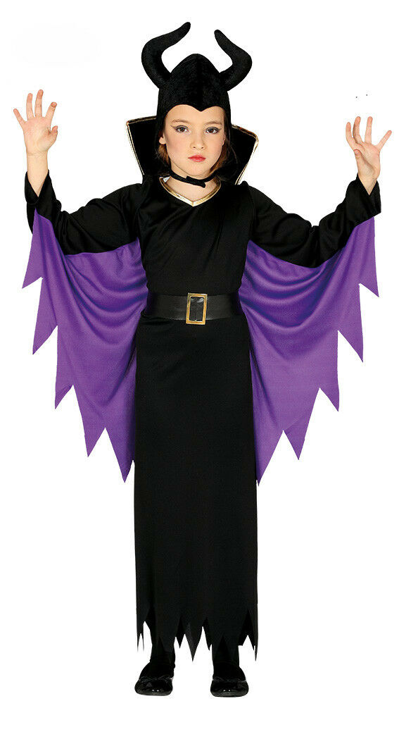 Girls Maleficent Costume Halloween Fancy Dress Outfit Witch Queen 3 5 7 9 12 New