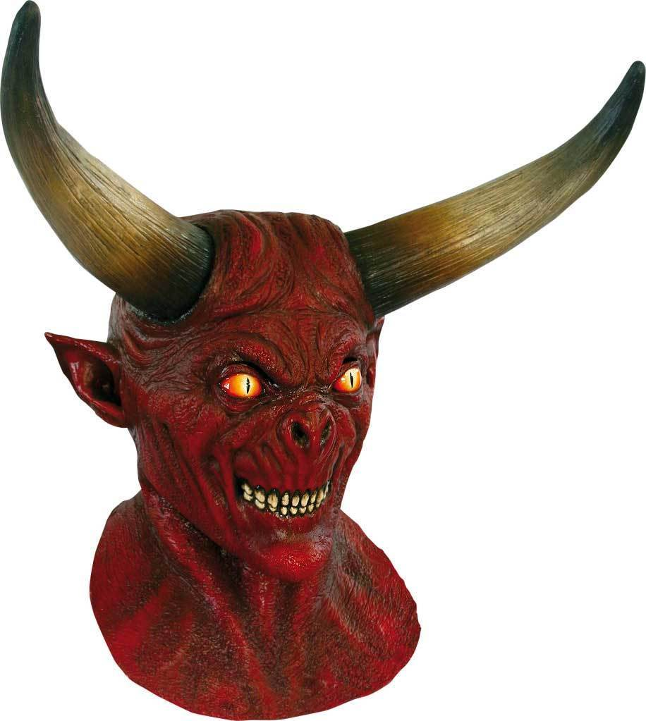 DELUXE MENS DEVIL SCARY LATEX HEAD MASK & NECK OVERHEAD