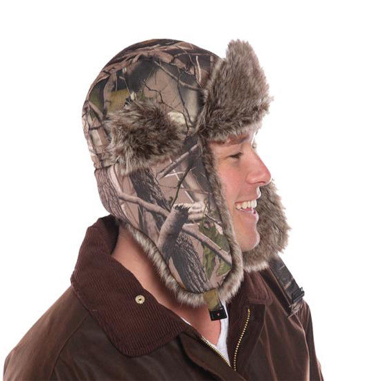 b75d1e024c6dc ... Woodland Camo Trapper Hat Camouflage Fur Trim Green Brown Adults NEW  58-60cm