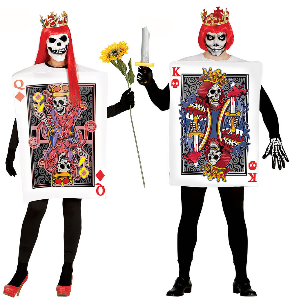 b99f207ac7b ... Mens Ladies Playing Card Costume Halloween Zombie King Queen Couples  Fancy Dress ...