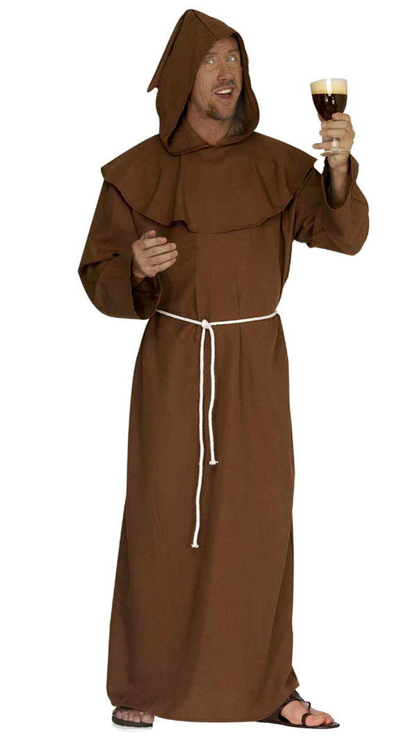 Men/'s Brown Medieval Monk Costume Hooded Friar Tuck Priest Adult Plus Size