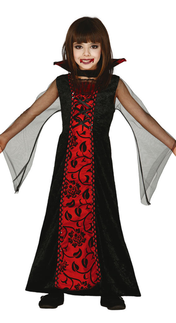 e64aa87dbc60 ... Girls Vampire Countess Costume Halloween Long Fancy Dress Outfit Age 3- 12 NEW
