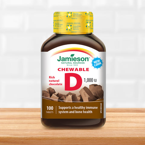 Vitamin D Chewable 1 000 Iu Natural Chocolate Flavour