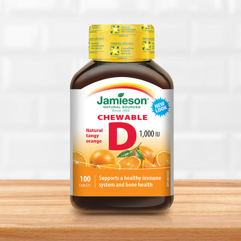 Vitamin D Chewable 1,000 IU - Natural Tangy Orange Flavour
